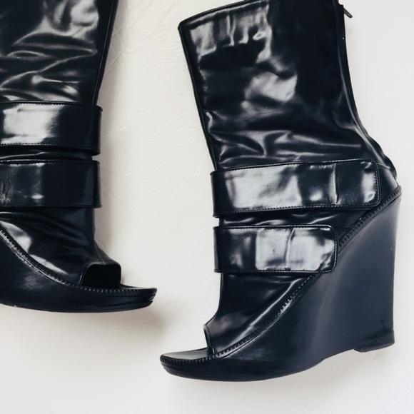 b840b1aba9e Givenchy Black Peep toe wedge boots